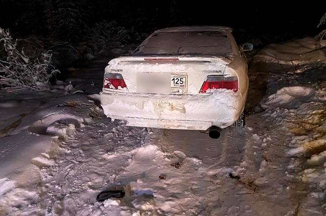 The car they were driving became stuck. Credit: East2West News
