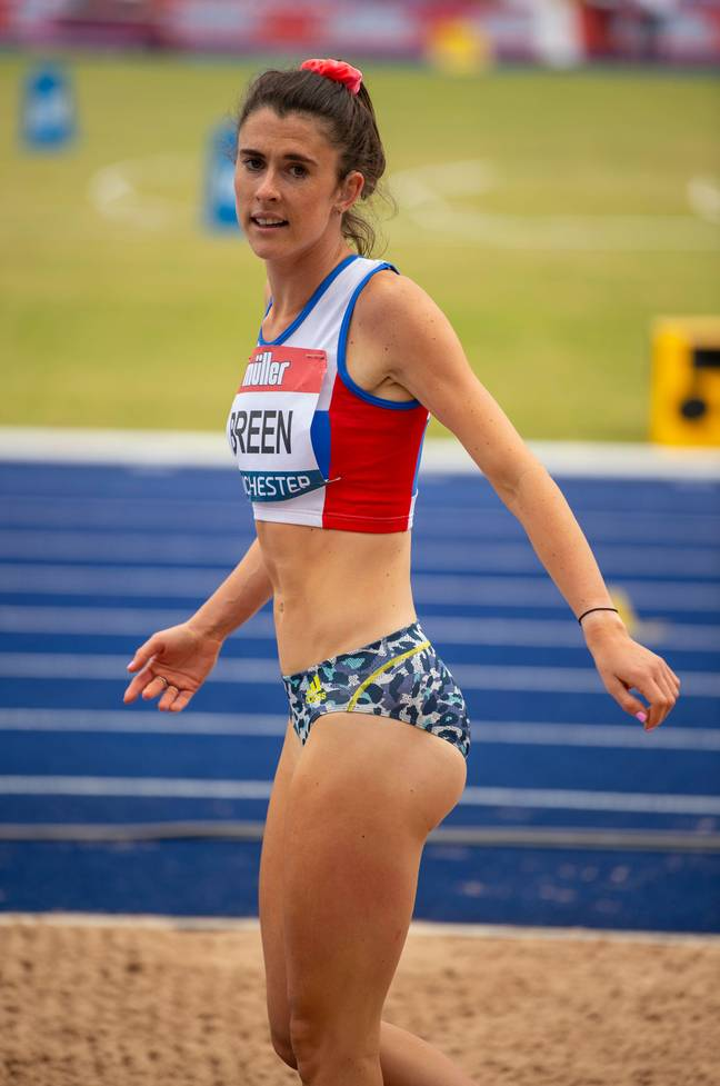 Olivia Breen wearing the same shorts at the Muller British Athletics Championships last month. Credit: Gary Mitchell, GMP Media/Alamy Stock Photo