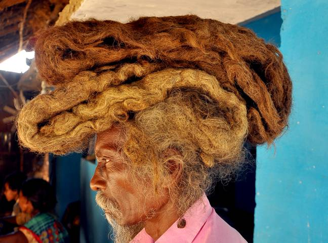 Sakal Dev Tuddu hasn't washed his dreads in 40 years. Credit: Barcroft Media