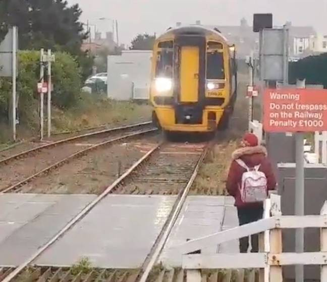 The woman ended up waiting at the side and the driver got off the train. Credit: Wales Online