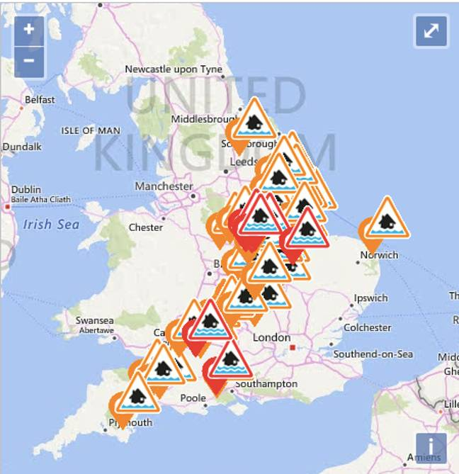 The Environmental Agency issued over 100 flood warnings. Credit: Environment Agency