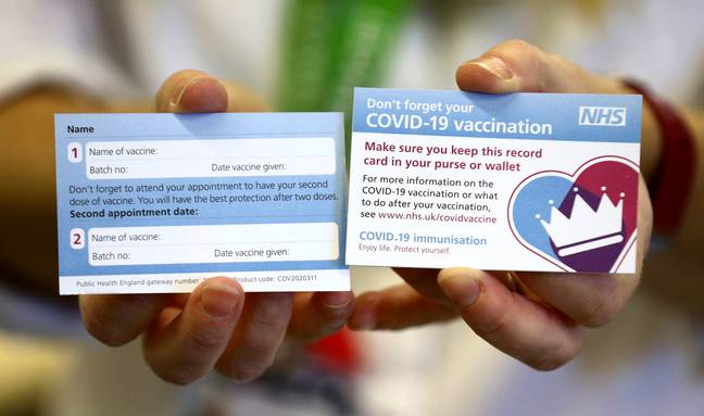 The card people will be given after receiving the coronavirus vaccine. Credit: PA