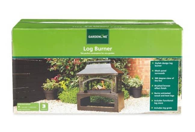 The log burner measures approximately 94 x 82 x 45cm. Credit: Aldi