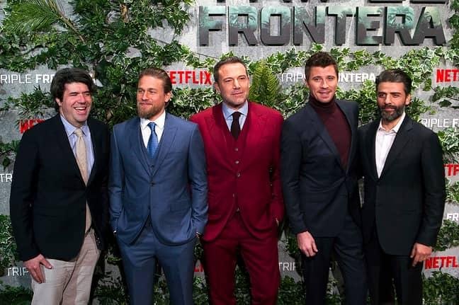 J. C. Chandor, Charlie Hunnam, Ben Affleck, Garrett Hedlund and Oscar Isaac. Credit: PA
