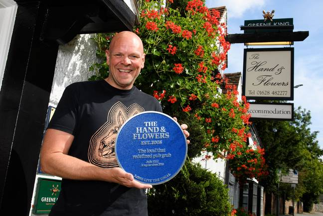 Tom Kerridge outside The Hand and Flowers. Credit: PA