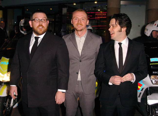 Edgar Wright, Simon Pegg, and Nick Frost at the Hot Fuzz premiere. Credit: PA
