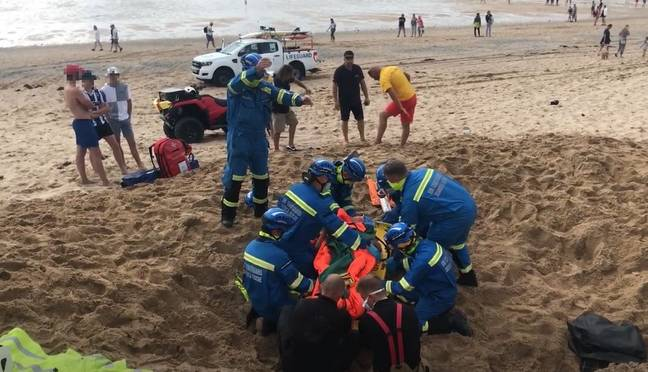 Luckily, emergency services and fellow beachgoers were able to dig the man out. Credit: SWNS