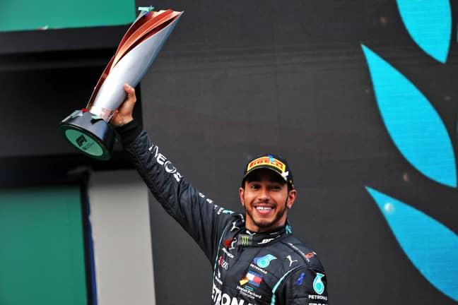 Lewis Hamilton celebrating his seventh world championship win at the Turkish Grand Prix this year. Credit: PA