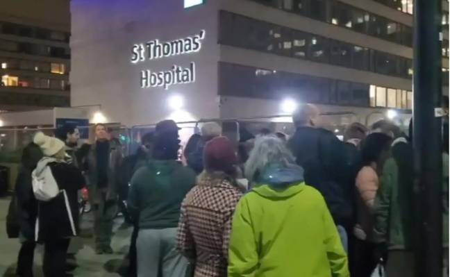 Covid deniers chanted 'Covid is a hoax' outside hospital on New Year's Eve. Credit: Twitter