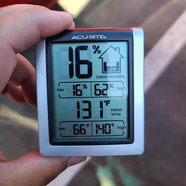 Temperatures in the car reached 130f (55c). Credit: Riverside County Sheriff's Department
