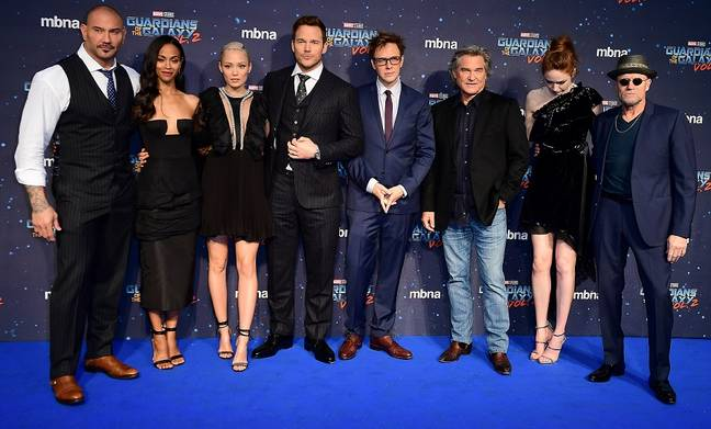 Gunn with the Guardians cast in 2017. Credit: PA