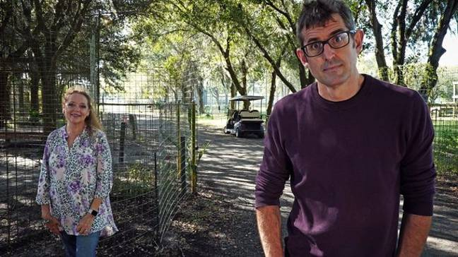 Theroux meets Carole Baskin in his new documentary. Credit: BBC