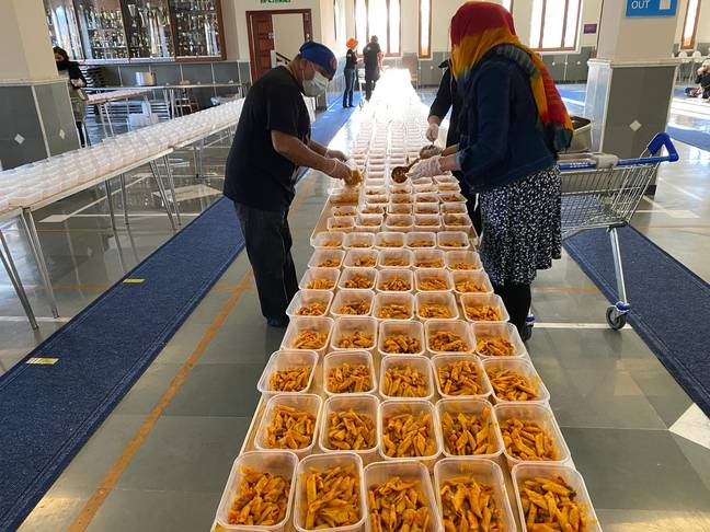 3,500 meals have now been made for the drivers stuck at the border. Credit: Guru Nanak Darbar Gurdwara Gravesend