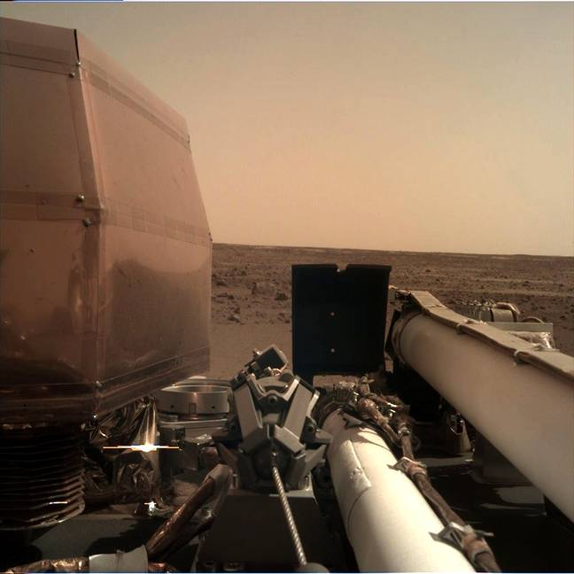The 'selfie' sent back from the space station's mission to Mars. Credit: NASAInSight/Twitter