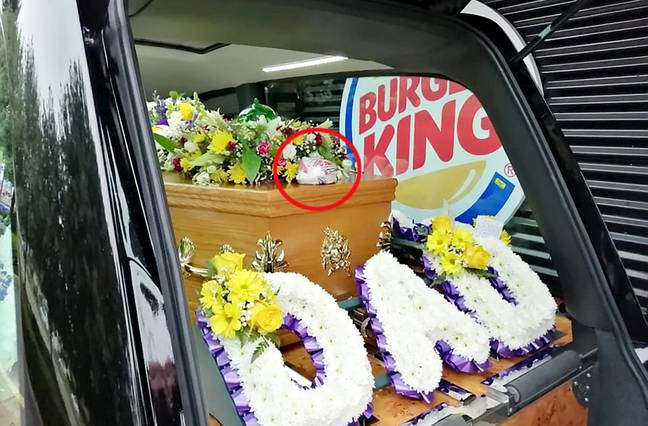 The Bacon Double Cheeseburger was placed lovingly on the coffin. Credit: SWNS