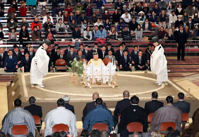 Shinto ceremony blessing the ring. Credit: PA