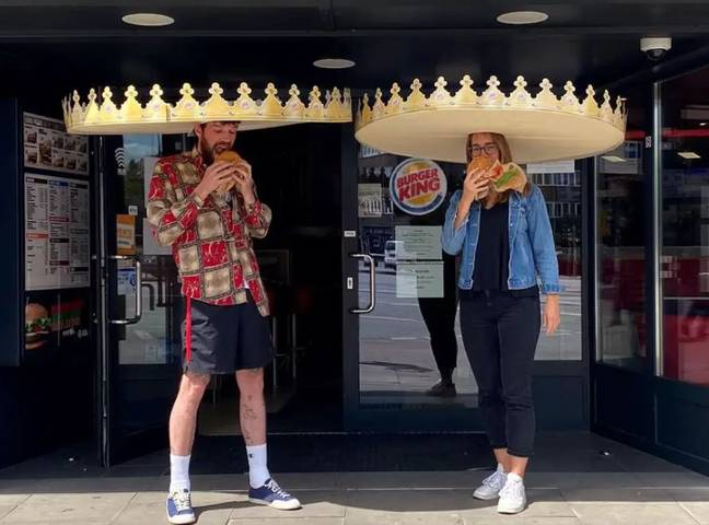 Burger King has introduced the 'social distancing crown' to help customers stay apart. Credit: Burger King