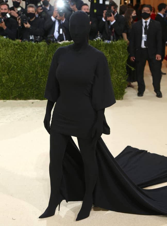 Kim Kardashian showcasing the eye-opening all-black Balenciaga outfit. Credit: PA