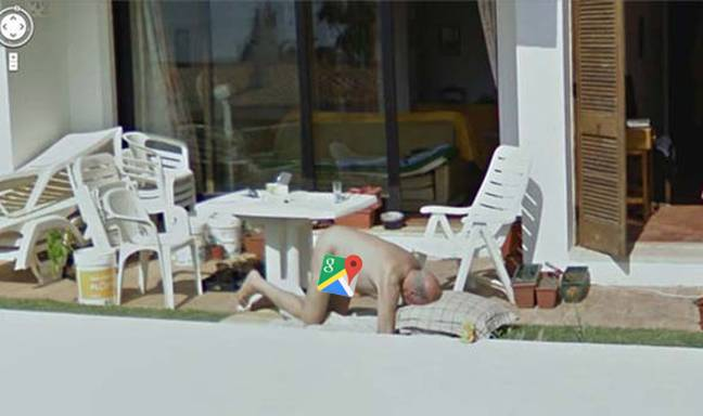 Credit: Google Maps. Naked Sunbather Caught In A Interesting Pose
