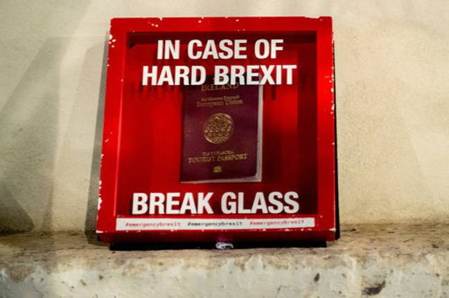 A mock Irish tourist passport in a 'break glass' in case of hard Brexit box seen at a protest last year. Credit: PA