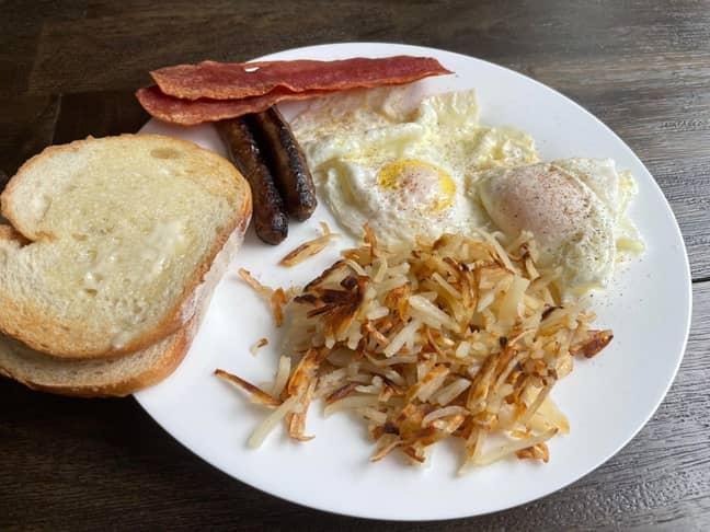 The so-called 'full American breakfast'. Credit: Reddit