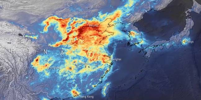 China pollution before the coronavirus lockdown. Credit: ESA