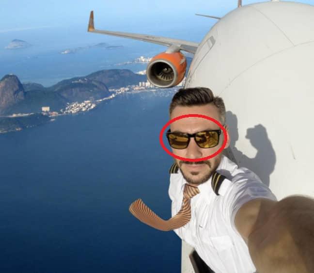 Pilot outside plane