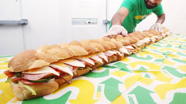 There's 64 triangles of American-style cheese tucked up in there, believe it or not. Credit: Subway