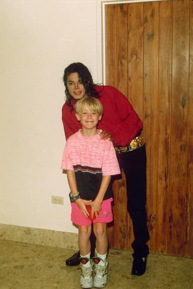 Jackson alongside a young Macaulay Culkin. Credit: Ernie McCreight/Shutterstock