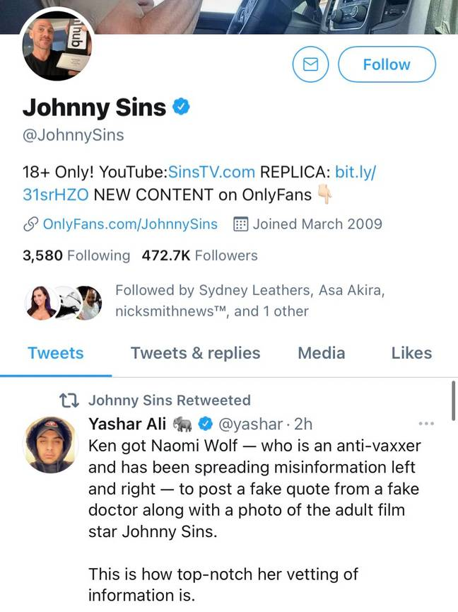 Johnny Sins even retweeted some of the fun. Credit: Twitter