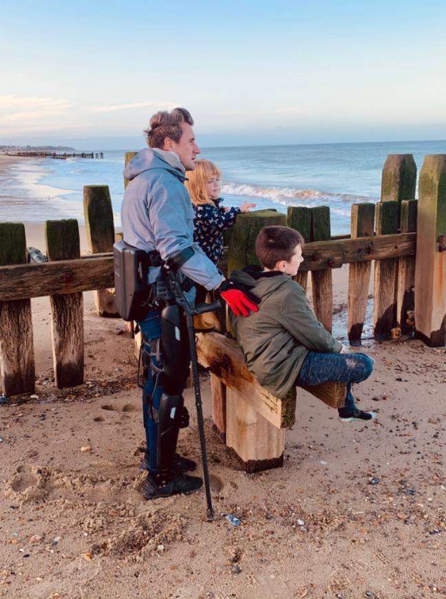 Simon on the sands with his son and daughter. Credit: Simon Kindleysides