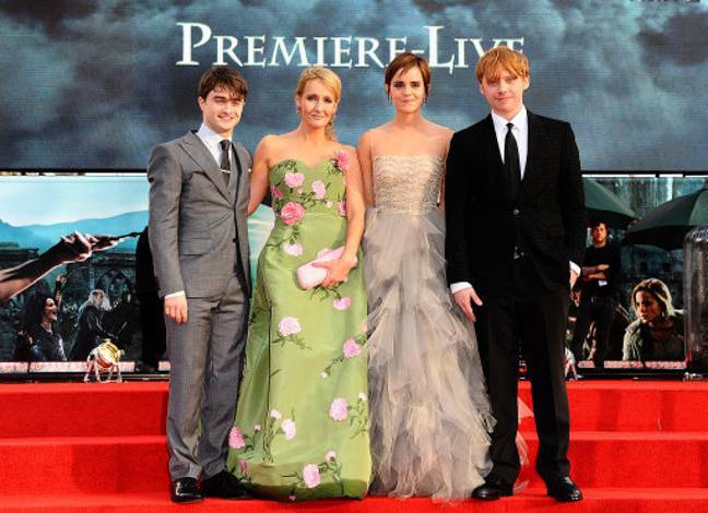 Daniel Radcliffe, JK Rowling, Emma Watson and Rupert Grint at the world premiere of Harry Potter And The Deathly Hallows: Part 2. Credit: PA