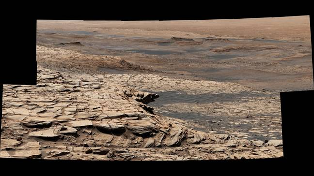 A stitched up photo from NASA of the surface of Mars. Credit: NASA