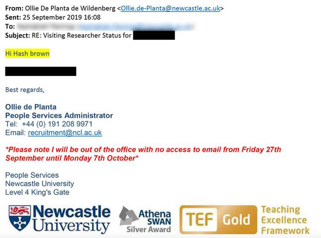 The email that was sent. Credit: NCJ Media