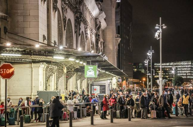 People queuing outside the Gare de Lyon in Paris last night. Credit: PA