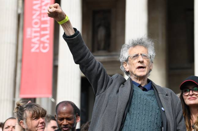 Piers Corbyn, the brother of Jeremy Corbyn, attended the protest today. Credit: PA