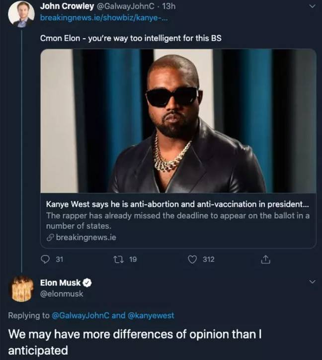 The recently deleted tweet from Musk. Credit: Twitter