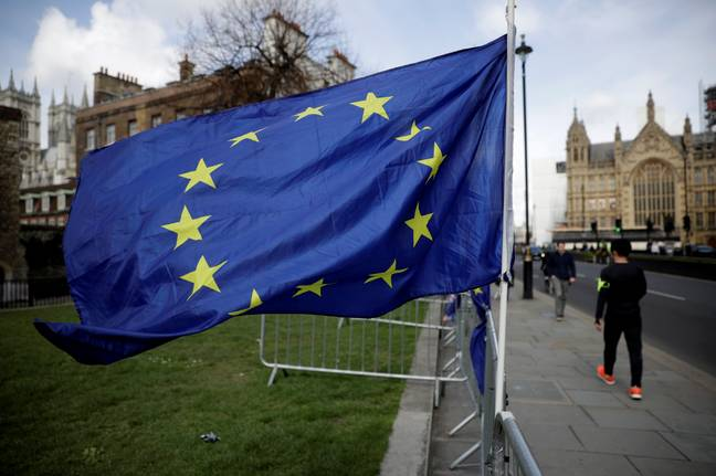 A European Union flag outside the Houses of Parliament. Credit: PA