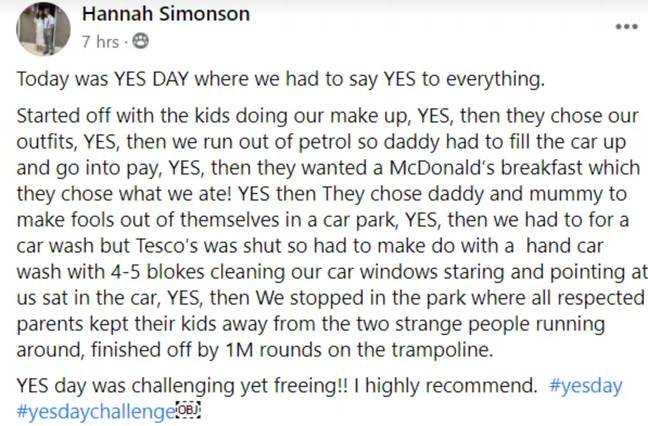 Hannah posted about her day in a Facebook group. Credit: Facebook/Hannah Simonson