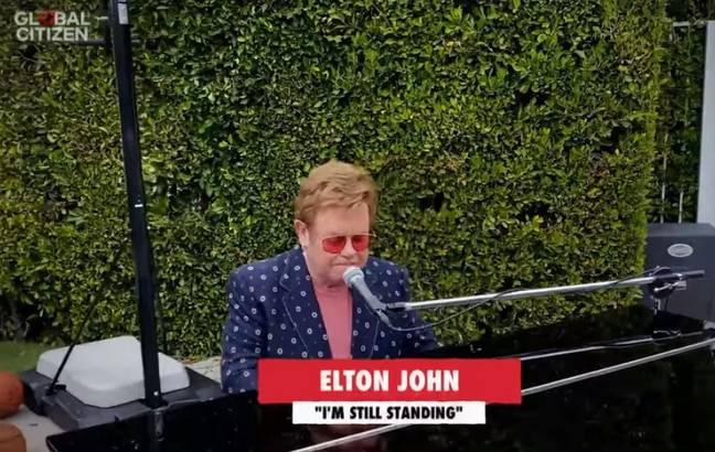 Sir Elton thanked everyone working on the front line. Credit: YouTube/Global Citizen