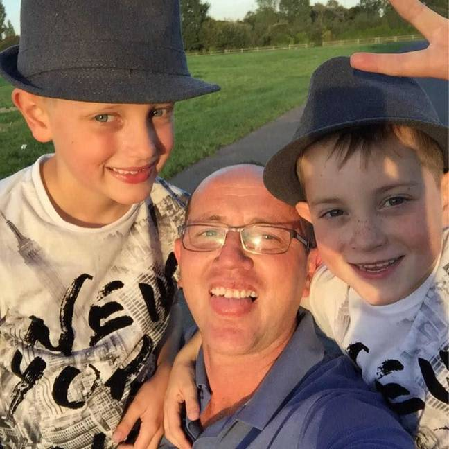 David Oswell with sons George and Eddie. Credit: Triangle News