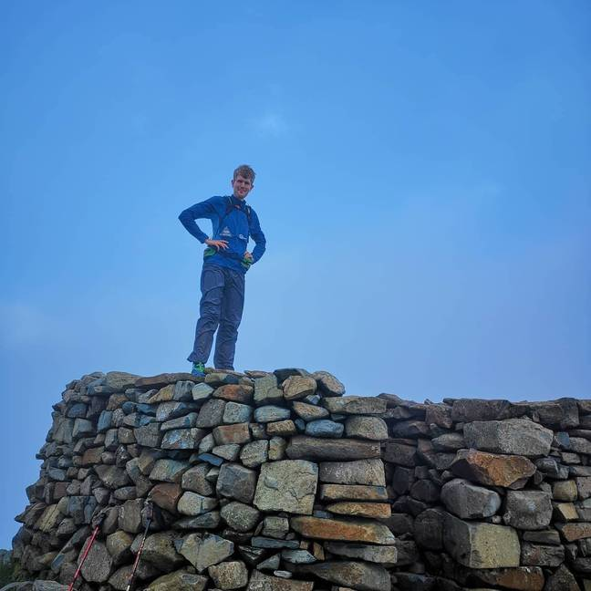 Alex at the top of Scafell Pike in the Lake District. Credit: Alex Staniforth