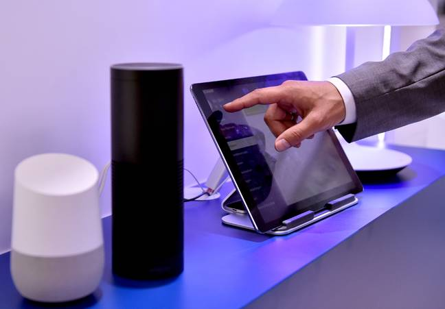 The Google Assistant speaker and Amazon's Echo - Alexa Voice Service presented at the IFA in Berlin (Credit: PA)