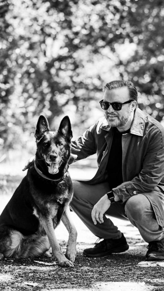 Gervais with Brandy the German Shepherd. Credit: Twitter/Ricky Gervais