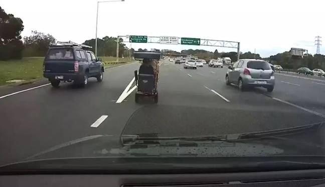 The man was taken to a police station. Credit: Facebook/Dash Cam Owners Australia/Bruce Bromley