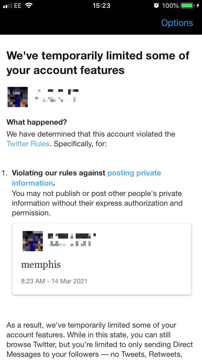 The message one account received after tweeting the word 'Memphis'. Credit: Twitter