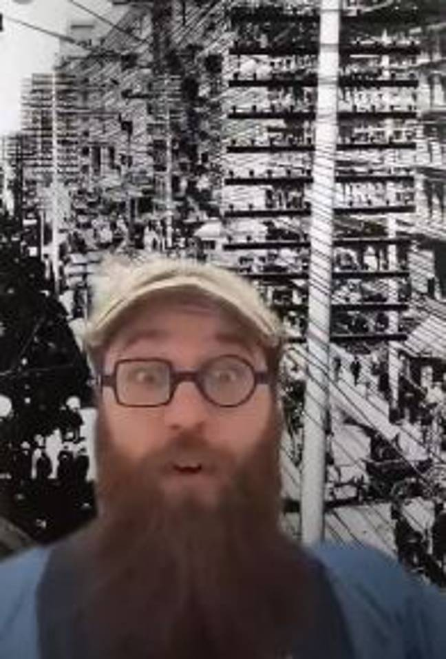 Eric showed people what telephone lines used to look like. Credit: TikTok/e.guidry