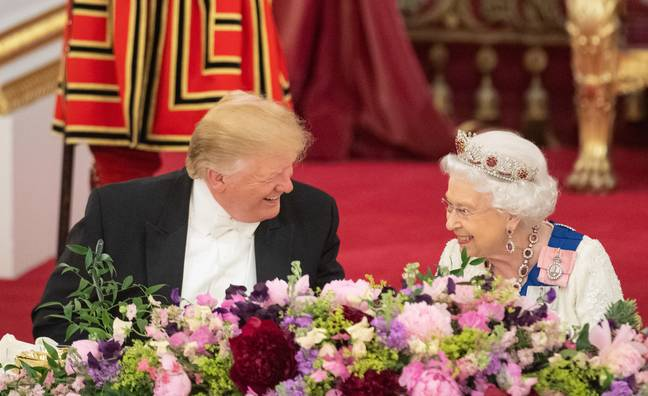The Queen and Trump shared a chuckle during the banquet. Credit: PA