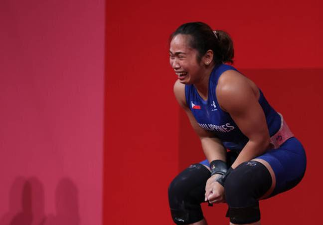 Diaz broke down after winning her country's first ever gold medal. Credit: PA