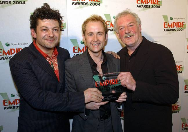 Andy Serkis, Billy Boyd and Bernard Hill with the Best Film Award for Lord Of The Rings Return Of The King. Credit: PA